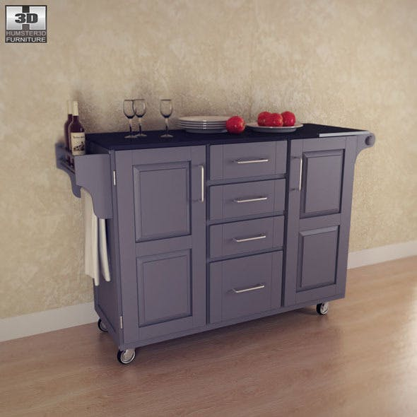 Kitchen Cart Large Black Home Styles By Humster3d 3docean