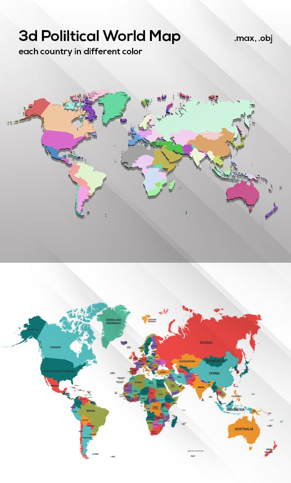 World Map 3d Model.3d Political World Map Model For Infographic By Idesignera 3docean