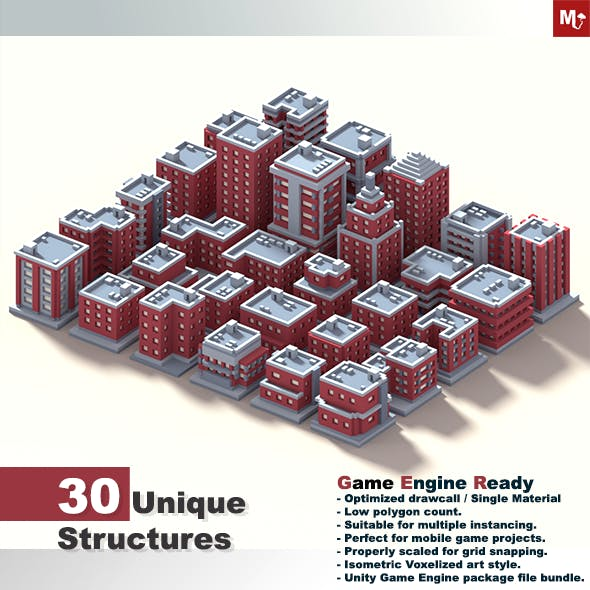 Low Poly Isometric Buildings Pack by MalongBrothers | 3DOcean