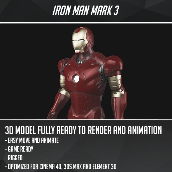 Iron Man Mark 3 - Game Ready by CactusModels | 3DOcean