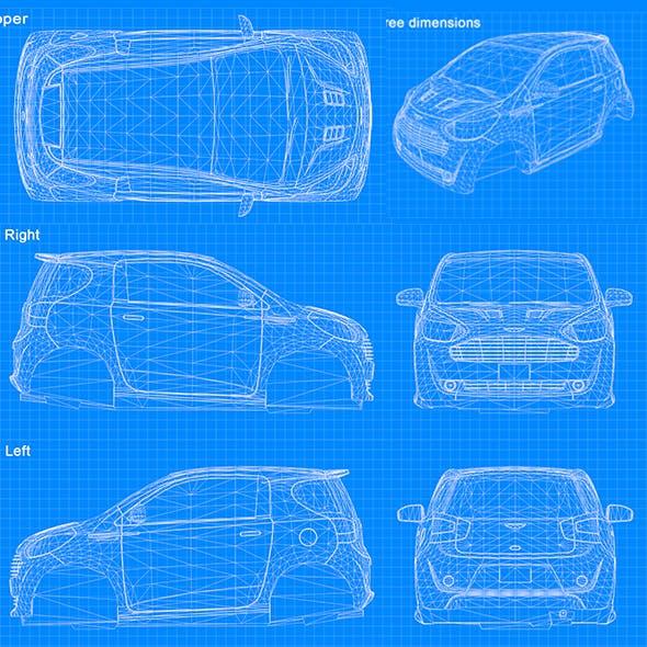 Blueprint Car - Cygnet 2011 by LaythJawad | 3DOcean