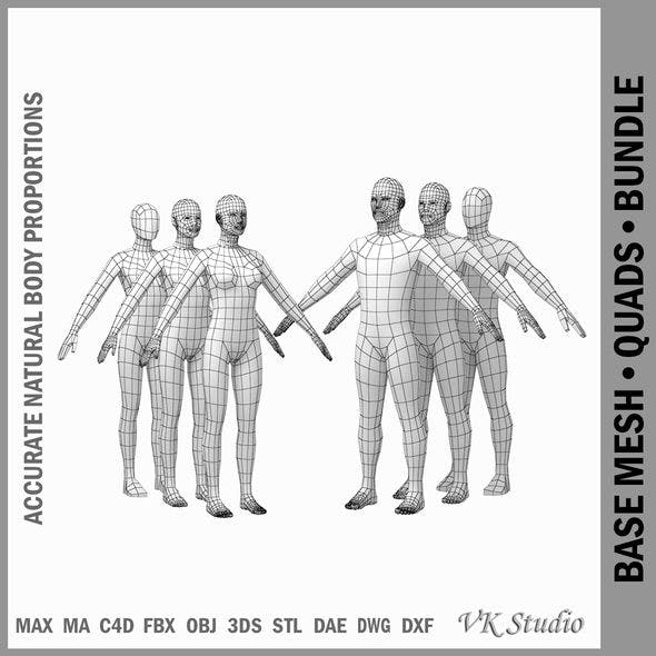 Female and Male Base Mesh Natural Proportions in A Pose BUNDLE by